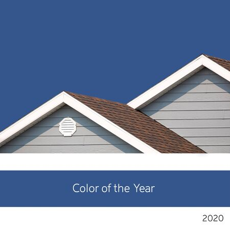 Color of the year 2020. A background of blue sky in a classic, rich tone, with a grey and white building detail. Minimialism style.
