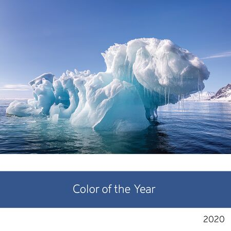 Color of the year 2020. An iceberg off the coast of Svalbard, Arctic Circle, as an example of the 2020 color of the year in classic, rich blue tones.