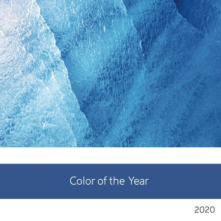 Color of the year 2020. A background of blue ice in a classic, rich tone. 스톡 콘텐츠