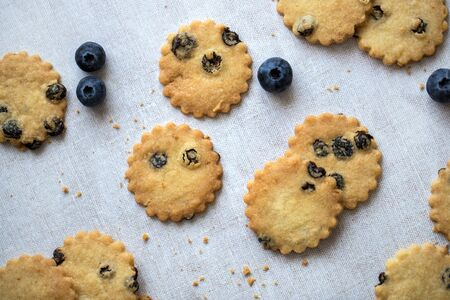Flatlay of blueberry shortbread with fresh blueberries, on linen tablecloth. 스톡 콘텐츠