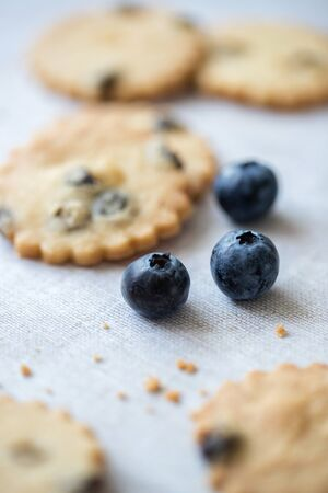 Blueberry shortbread and blueberries on linin tablecloth. Selective focus on fruit.