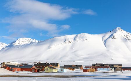 The small town of Ny Alesund in Svalbard, a Norwegian archipelago between Norway and the North Pole. This is the most northerly civilian settlement in the world and has 16 permanent research stations.