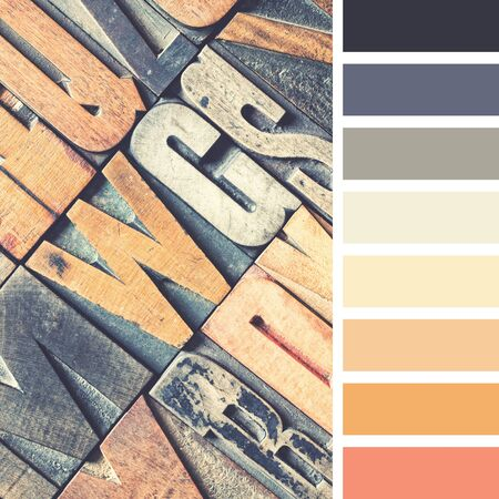 A background of vintage letterpress blocks in a colour palette with complimentary colour swatches.