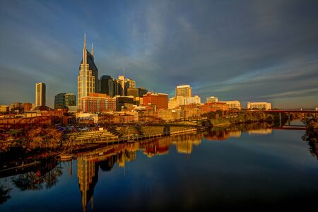 tennessee: Downtown Nashville Tennessee Riverside at Sunrise Stock Photo