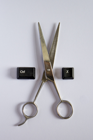 Scissors are side by side with copy short key Banco de Imagens