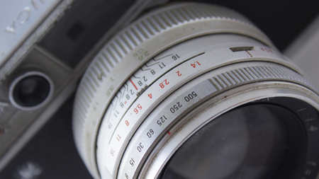 Detail shot of analogue lens or old camera
