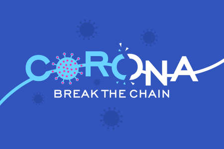 Corona virus break the chain blue background