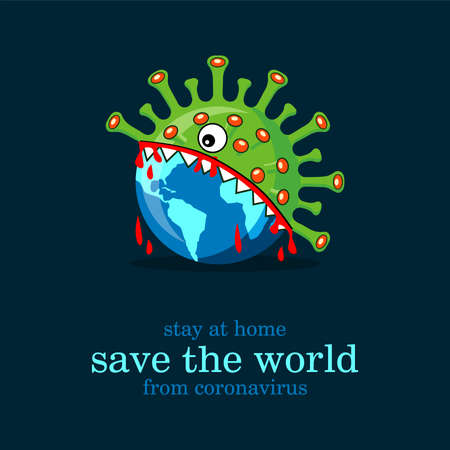 Save the world from coronavirus, virus eating the world dark background