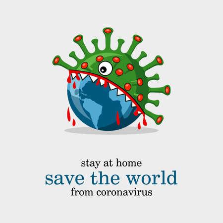 Save the world from coronavirus, virus eating the world light background Çizim