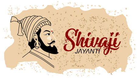 Shivaji Jayanti is a festival and public holiday of the Indian state of Maharashtra, Vector design old paper background Illusztráció