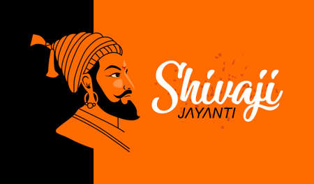 Shivaji Jayanti is a festival and public holiday of the Indian state of Maharashtra, Vector design Orange background