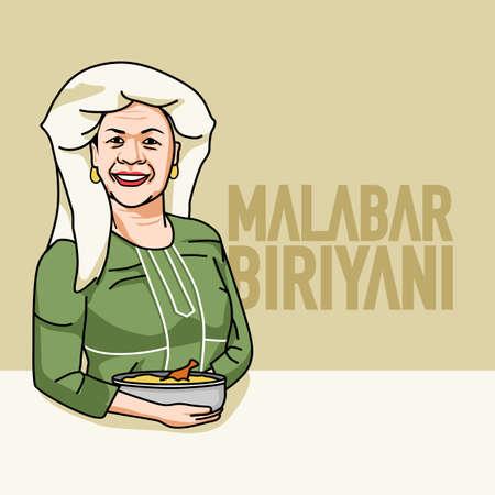 Kerala Malabar Muslim women with biryani with text Ilustracja