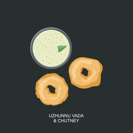South Indian Snack Food Vada and Chutney Vector