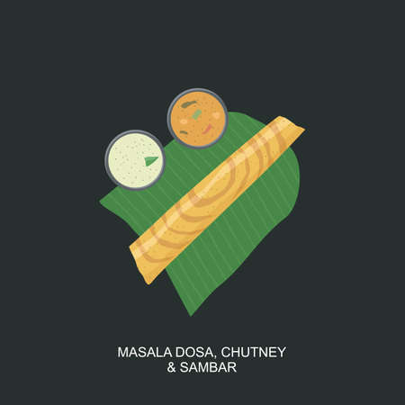 South Indian Food Dosa, Sambar and Chutney in Banana Leaf Illustration