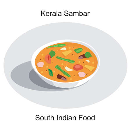 South indian delicious food kerala style sambar for onam festival isolated