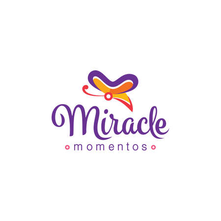 Colorful butterfly logo design with miracle typography text suitable for fancy shop Illusztráció