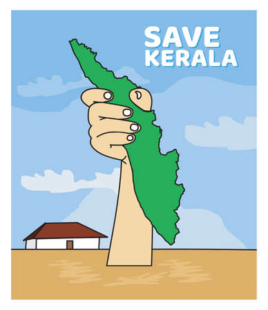 Save kerala from Flood Protect Kerala Map on Hand vector drawing