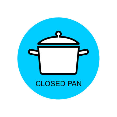 Closed pan for cooking outline vector for packaging design