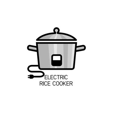 Electric Rice Cooker for cooking outline vector for packaging design  イラスト・ベクター素材