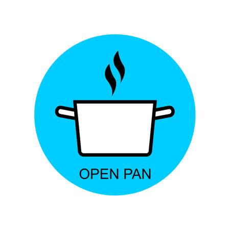 Open pan for cooking outline vector for packaging design