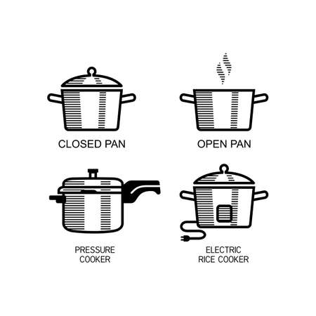 Different types of rice cooking instructions. Closed Pan, Open Pan, Pressure Cooker and Electric Rice Cooker  イラスト・ベクター素材