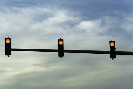a silhoutte view of traffic lights from dubai 스톡 콘텐츠