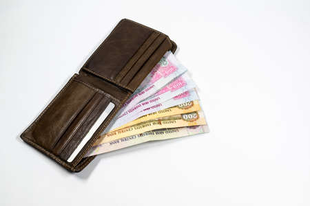 UAE currency from wallet, with white background, UAE dirhams Stock fotó