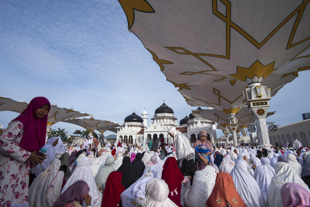 Number of Muslims in Aceh perform the Id 1439 Hijri prayer at Baiturrahman Raya Mosque, Banda Aceh, Aceh province, Indonesia. Friday, June 15, 2018. Editorial