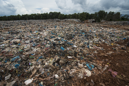 Indonesia, Aceh. April 30, 2019: Piles of plastic waste can be seen gathering in the area of Acehs waste disposal, Aceh province, Indonesia.