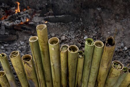 Leumang is still in bamboo after burning. Leumang or lemang is Aceh's special food on certain days such as the celebration of the holidays and the month of Ramadan.