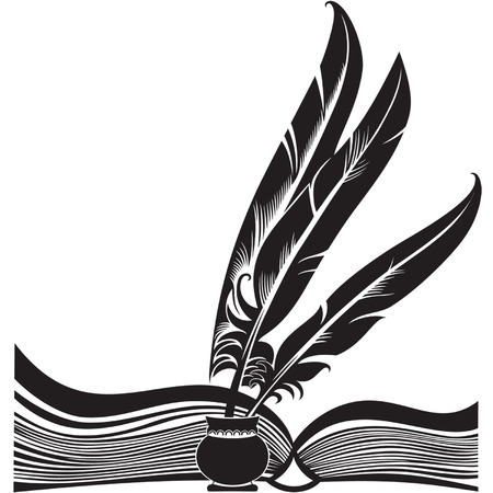 Black silhouette of the opened book and three quills