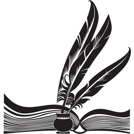Silhouette noire de la livre ouvert et trois piquants
