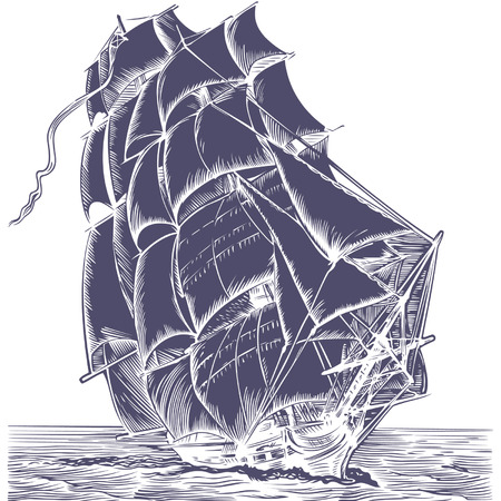 rudder: vecchia nave a vela su sfondo bianco  Vettoriali