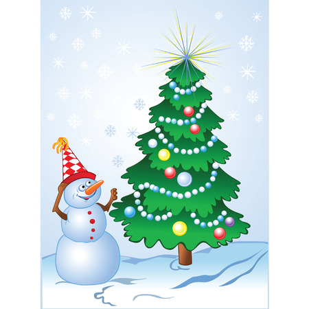 Smiling snowman and decorated pine-tree in comic style  Vector
