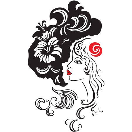 Silhouet van mooi meisje in zwart en wit stijl