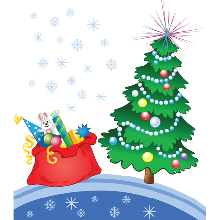 Red bag with gifts and toys and decorated pine  Vector