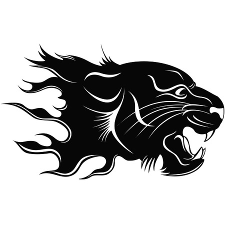 cougar: Black silhouette of a head of a tiger with a flame