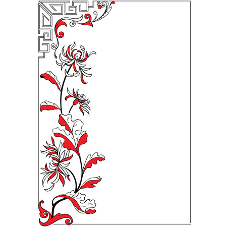 liana: decor floral frame in japan style