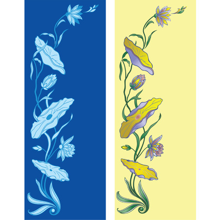 Decorative flowers of lily in two color variants  Vector