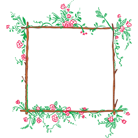 funny floral green frame with red flowers  Vector
