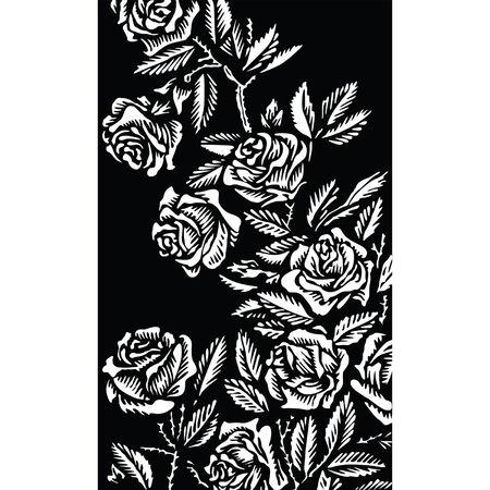 cadre noir et blanc: Arri�re-plan avec roses