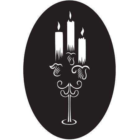candlesticks with burning candles  Illustration