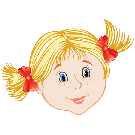 cartoon smiling face of little girl Illustration