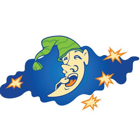 cartoon sleeping yellow moon in cap on the cloud  Illustration