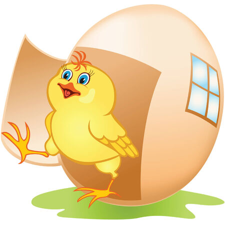 Cartoon yellow chicken coming out of the egg Vector