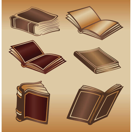 diary page: Color illustration of old books Illustration