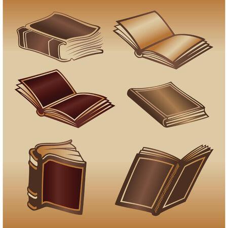 old books: Vierfarbige Abbildung der alten B�cher Illustration