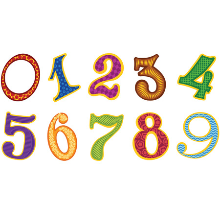 0 6: Set of cartoon color decor numbers Illustration