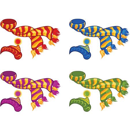 wintermode: Farbe Illustration gestrickte H�te und Schals Illustration