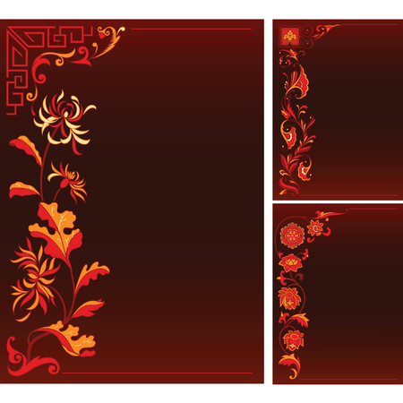 national border: red backgruonds with floral chinese decor Illustration